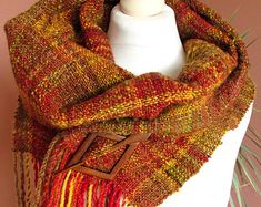 Handwoven scarf made of handspun art yarn.Wool scarf.Wool shawl.Art yarn scarf.Natural wool.