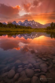 Schwabacher Sunset-Vertical ~ Grand Teton National Park, Wyoming by Chip Phillips - I'm definitely sad that I didn't get to see a sunset in the grand tetons. hopefully next time we can camp & I won't miss it! Beautiful Sunset, Beautiful World, Beautiful Places, Beautiful Scenery, All Nature, Amazing Nature, Nature Images, Nature Photos, Grand Teton National Park