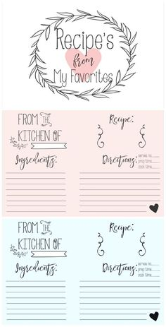 FREE Bridal Shower Recipe Printable on Frugal Coupon Living plus fun recipe book craft idea. My mother did this for me and I find it to the the perfect gift for a new bride, especially one who might be cooking for the first time.
