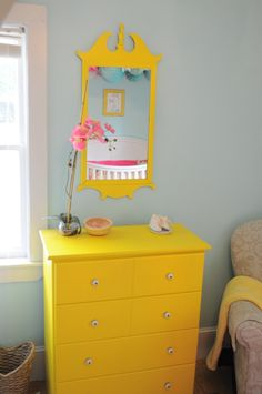 Bring color into your #nursery with #DIY projects like painting thrifted furniture.  #yellow