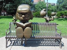 Marcie, Woodstock, & Peppermint Patty - Get pictures of bronze Peanuts statues in Rice Park, St. Paul.