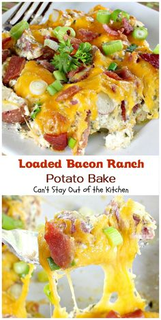 Awesome potato dish that reminds you of loaded baked potatoes. Filled with sour cream, cream cheese, cheddar cheese, parmesan cheese, bacon, ranch mix. Yum.