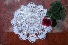 White crochet doily 13 inches Round doily Lace doily Table décor Centre piece Crochet doily by Patricia Kristoffersen - pinned by pin4etsy.com