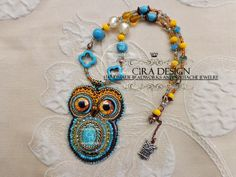Owl bead embroidery by Cira Design - BEAD EMBROIDERY 2013