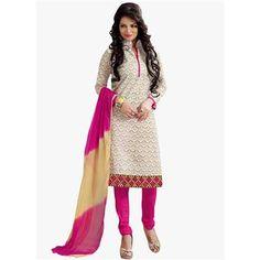 Buy White Chanderi cotton Embroidered Designer Churidar Suit by  Louis Vogue, on Paytm, Price: Rs.849?utm_medium=pintrest