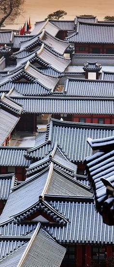 Roofs of Korean traditional houses - Hanoks. Japanese Architecture, Ancient Architecture, Interior Architecture, Futuristic Architecture, Korean Traditional, Traditional House, Art Asiatique, Roof Detail, Roof Tiles