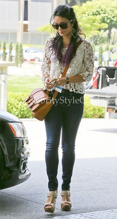 Vanessa Hudgens wore the lace Heartloom Dixie Top arriving for a meeting at a business building in Century City, June 20, 2012