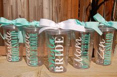 Personalized bridal party acrylic tumblers. These adorable tumblers make great gifts for the bride and bridal party, including friends and family members. They can be customized with any font, color, and choice of names and titles!! Coordinating ribbon is free of charge!