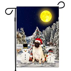 PrintYmotion Pug Dog with Snowman Christmas Holidays Garden Flag, Dog Lovers Gift (12 x 18 Inches) PrintYmotion #Pug #Dog Lovers gift #Christmas Gift #Christmas Flag