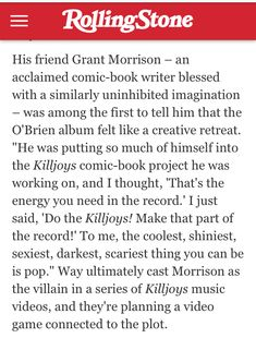 Grant Morrison, Power Pop, Psychedelic Rock, Killjoys, Pop Punk, Pop Rocks, My Chemical Romance, To Tell, Rock Bands
