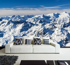 The Alps WALL MURAL, Europe's Alps Mountain Winter Scene Wallpaper, Beautiful Snow Mountain Sticker, Self Adhesive Peel & Stick Mural
