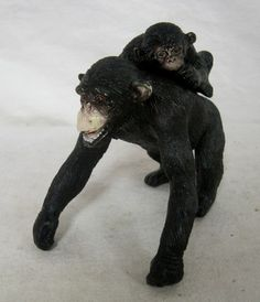 Chimpanzee Female Animal Rubber Toy with Baby on Back Figurine Black | eBay