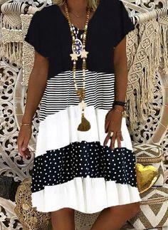 Women's A Line Dresses, Knee Length Dresses, Casual Dresses, Short Sleeve Dresses, Maxi Dresses, Short Sleeves, Floryday Vestidos, V Neck Midi Dress, Style Casual