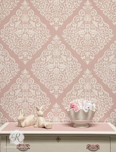This site has some great stencils!  Lace Bird Allover Damask Wall Stencil
