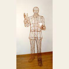 Seattle Man - Lifesize Copper Wire Sculpture #copper