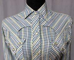 vtg-40s-50s-Blue-PLAID-Tem-Tex-WESTERN-Pearl-Snap-Shirt-ROCKABILLY