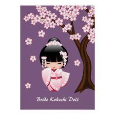 Poupée japonaise de Kokeshi de jeune mariée Poster