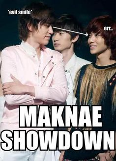 Evil Maknae showdown is better Lol. And Kyuhyun's definitely lokking DOWN on baby Taemin. XD