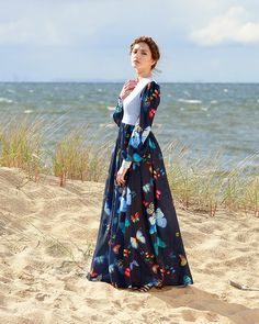 Boho maxi dress in navy blue with butterflies by MagdalenaMol