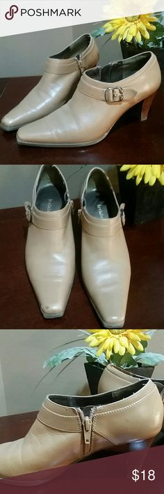 Super Comfy Tan Leather Ankle Boots Buckle accent across foot with Zipper on inside for easy slip on and off. See pic of right toe tip. Tiny black scuff most Likely can be removed with proper cleaning.  Just haven't tried. Excellent condition other than that Liz Claiborne Shoes Ankle Boots & Booties