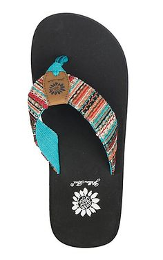 586b2f7f1 Yellow Box Women s Oria Turquoise Multi with Sequins and Black Foot Flip  Flops
