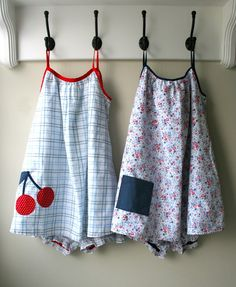 mmmcrafts: summer jammies from thrifted sheets- How cute. For kids, using Simplicity pattern #5006