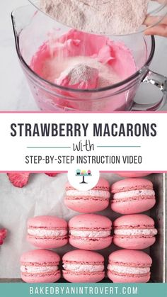 Strawberry Macarons Recipe, Easy Macaroons Recipe, French Macaroon Recipes, Macaron Flavors, Best Macaroon Recipe, Macarons Easy, Making Macarons, French Macaroons, Strawberry Sauce