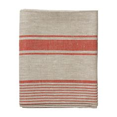 "Linen Striped TableCloth : From a country rich in textile heritage, this 100% eco-friendly linen tablecloth is handmade by a family run company in Lithuania.    - 100% linen  - Machine wash, tumble dry  - Lithuania    98""H, 56""W"