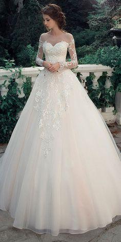 f65e5eab987 Glamorous Tulle   Satin Bateau Neckline A-Line Wedding Dresses With Lace  Appliques