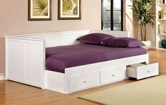 Furniture Of America Adeline Cottage Style Daybed With Drawers In White