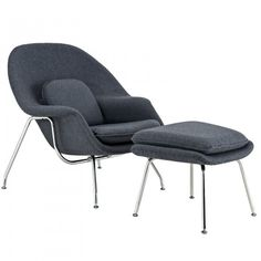 LexMod Eero Saarinen Style Womb Chair And Ottoman Set In Dark Gray