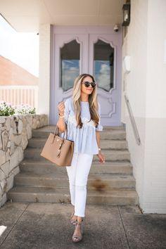 White Denim & Striped Blouse | The Teacher Diva