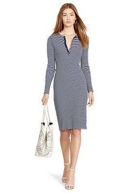 9d25c4f95fd Striped Ribbed Henley Dress - Polo Ralph Lauren Short Dresses - RalphLauren .com