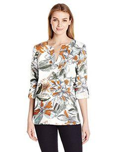d94fd301 Lark & Ro Women's 3/4 Sleeve Roll Tab Utility Shirt, White Floral