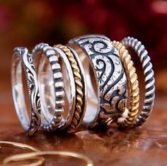 Renaissance Band, Beaded Ring, Gold Twist & Silver Band, Kai Band, Small Twisted Wire Ring in 14k gold and in sterling silver #JamesAvery