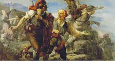 Cuadro de guerrilleros en la batalla de Bruch (Barcelona, 1808) durante la Guerra de la Independencia. Surge para responder a la invasión de las tropas napoleónicas y significó una ruptura con el Antiguo Régimen absolutista. Destacan Juan Martín, el Cura Merino, Espoz y Mina. Constituyeron cuadrillas improvisadas formadas por oficiales, soldados huidos del Ejército, bandoleros e incluso clérigos. Ésta boicoteaba las líneas de comunicación para dificultar el avance del ejército francés.