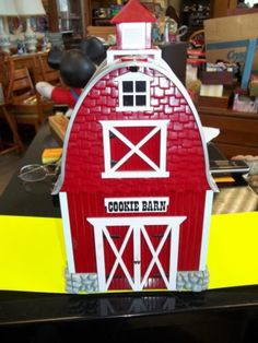 Adorable Red Barn Musical Cookie Jar Plays Green Acres Theme When Open | eBay