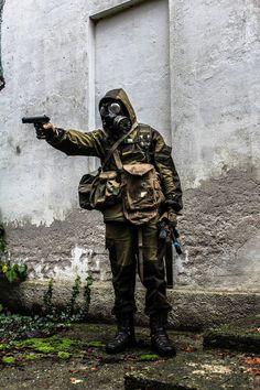 "Ivano nickname ""White Wolf"" with Gorka-3, smersh AK, AKs74u with PBS-1 suppressor, TT-33 Tokarev, English Gas Mask and Crispi boots."