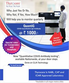 "Free Home Sample Collection Now ""Quantitative Covid Antibody Testing"" Available Nationwide at your doorstep.(QUANTIG) Done on CLIA Technology This test will help you to understand how much any individual has got exposed. Another use is that it helps to identify plasma donors and determine immunity"