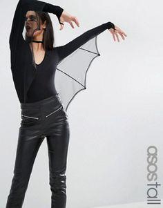 ASOS TALL – HALLOWEEN – Body mit Fledermausflügeln aus Netzstoff