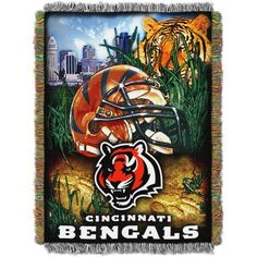 NFL 48 inch x 60 inch Tapestry Throw Home Field Advantage Series- Bengals, Orange