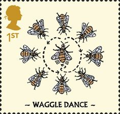 Great Britain 2015 Stamp: Waggle Dance (United Kingdom of Great Britain & Northern Ireland) (The Honeybee) Mi:GB 3949 Bee Equipment, Royal Mail Stamps, Bee Free, Bee Illustration, Tattoo Themes, I Love Bees, Postage Stamp Art, Bee Tattoo, Vintage Stamps