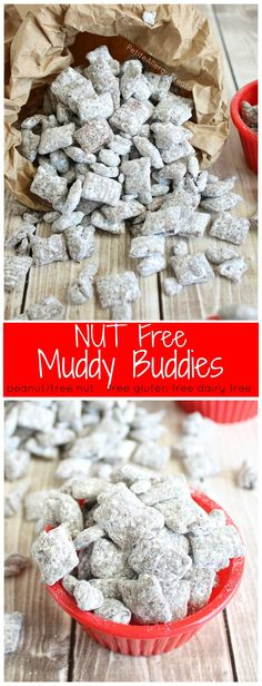 Nut Free Muddy Buddies (gluten free dairy free)- Classic treat for school made peanut free and allergy friendly