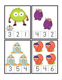 Preschool Printables: Little Monster's Printable - MATH Monster Activities, Kindergarten Math Activities, Montessori Math, Autism Activities, Preschool Printables, Preschool Classroom, Preschool Learning, Fun Learning, Math For Kids