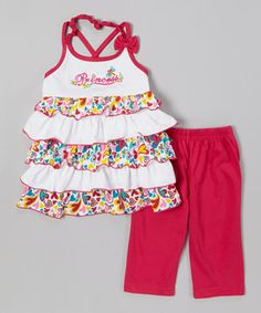 This G&J Relations Raspberry Tiered Ruffle Top & Capri Leggings - Toddler & Girls by G&J Relations is perfect! #zulilyfinds