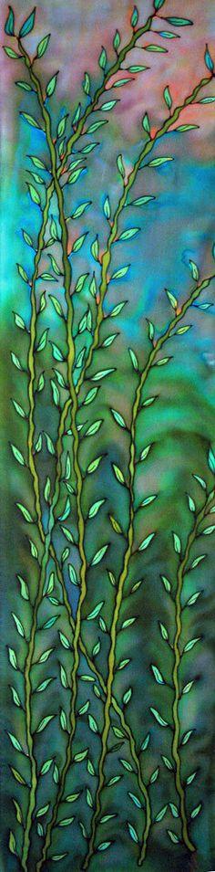 Bamboo Silk Scarf. Handpainted silk scarves.  by SirenSilkScarves
