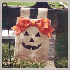 Burlap Jack O Lantern Flag by AdorablyShabby on Etsy, $20.00