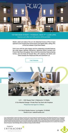 New Homes for Sale in Los Angeles, California Exclusive Broker Event Tomorrow 11-2pm Tuesday May 1st | Enjoy Espresso & Coffee Cart with Pastries 1,911 - 1,952 sq. ft. | 3-Stories | 3 Beds | 3.5 Baths | 2-Car Garage | Roof Top Deck with Fireplace | From the High $1.3 Millions Only 8 Homes Available | Phase One 75% Sold Out | Bring your clients today! Learn More Garage Roof, Car Garage, Deck Fireplace, Coffee Carts, New Home Builders, Roof Top, Espresso Coffee, New Homes For Sale, Pastries