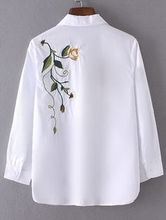 Shop Roll-Up Sleeve Embroidery Blouse With Pocket online. SheIn offers Roll-Up Sleeve Embroidery Blouse With Pocket & more to fit your fashionable needs. Embroidery On Kurtis, Kurti Embroidery Design, Embroidery On Clothes, Embroidery Suits, Embroidered Clothes, Embroidery Fashion, Kurta Designs, Blouse Designs, Fabric Painting On Clothes