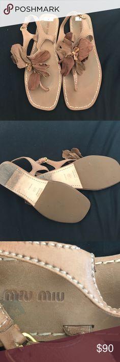 Miu miu brown leather sandals Size 6 1/2 (7) brown leather Miu Miu flower sandal Lightly used Miu Miu Shoes Sandals